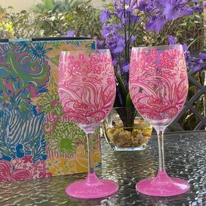 Lilly Pulitzer Pink Floral Wineglasses NWT